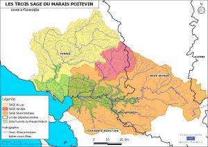 Carte des 3 SAGE du Marais poitevin